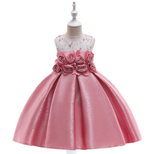 New Kids Girls Jacquard Flowers Princess Dress for Wedding Children Clothes Girls Evening Party Dresses Girl 10th Birthday Dress