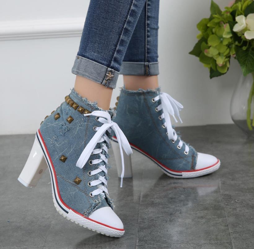 Neue Schwarzes Niet Station weiß Casual armee grün himmel Mode Europäische Explosive Denim blau Student Leinwand Schuhe Frauen blau rFwPnrpqzx