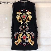 Высокое качество под черное платье женские элегантные летние платье с длинными рукавами модные Платье с блестками
