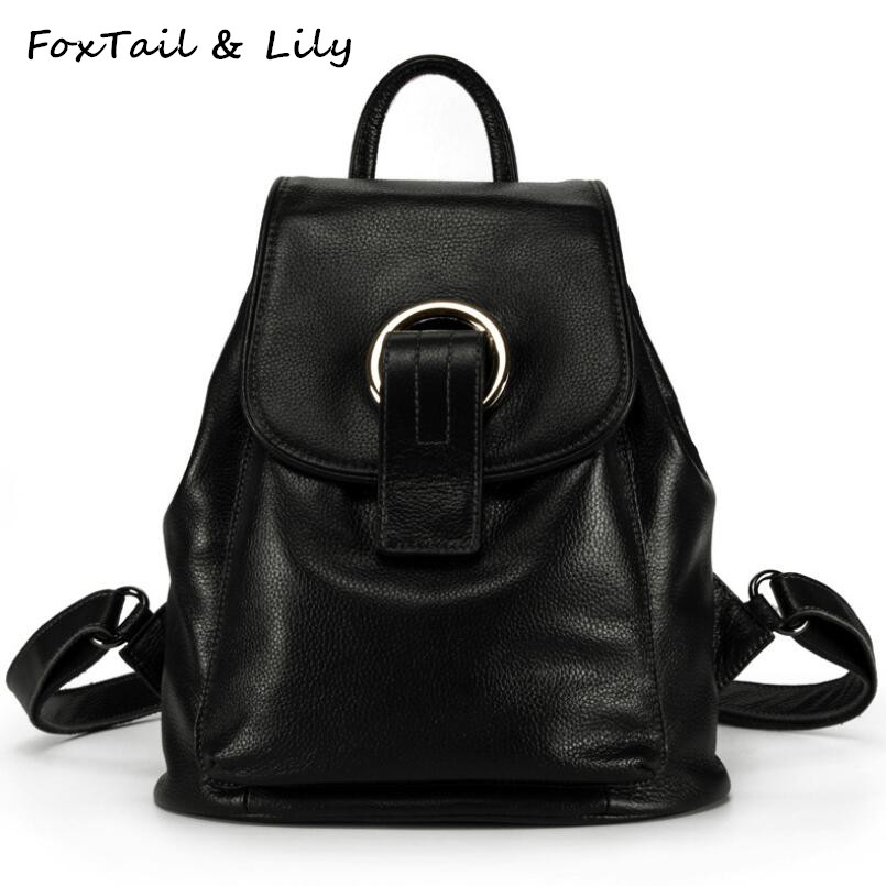 FoxTail & Lily Soft Genuine Leather Backpack Women Popular School Bags For Teenagers Casual Travel Backpack Fashion Shoulder Bag nice new casual girls backpack genuine leather fashion women backpack school travel bag teenagers girls cowhide shoulder bags