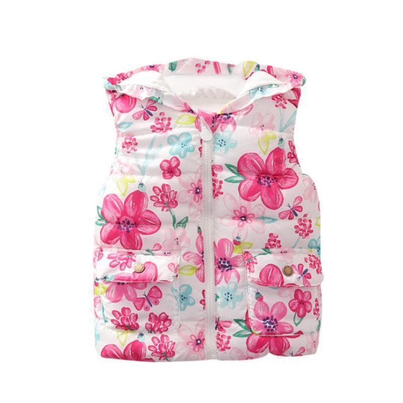 Baby Kleidung Herbst Mädchen Blume Drucken Mit Kapuze Weste Jacke Kinder Winter Baumwolle Weste Oberbekleidung Mantel Neue äSthetisches Aussehen
