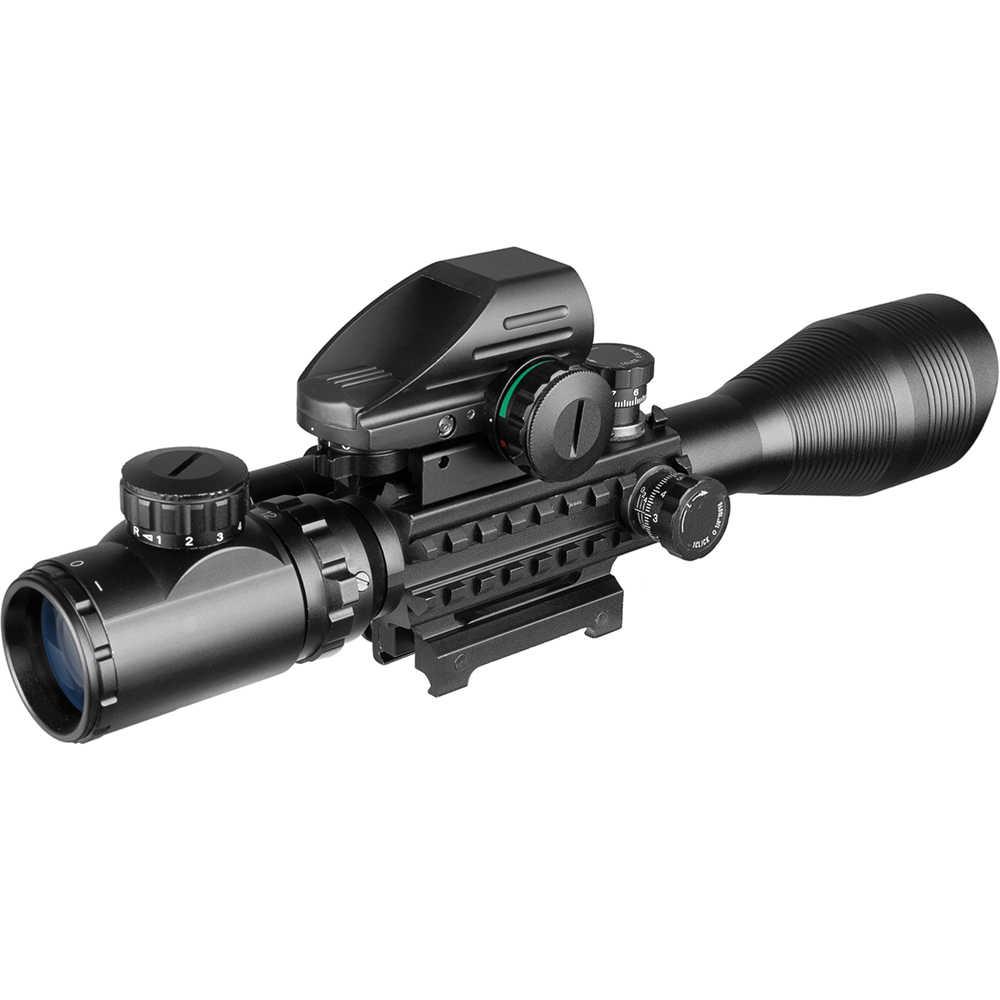 4-12X50 למשל ציד Airsofts Riflescope טקטי אוויר אקדח אדום ירוק דוט לייזר Sight הולוגרפית אופטיקה רובה היקף