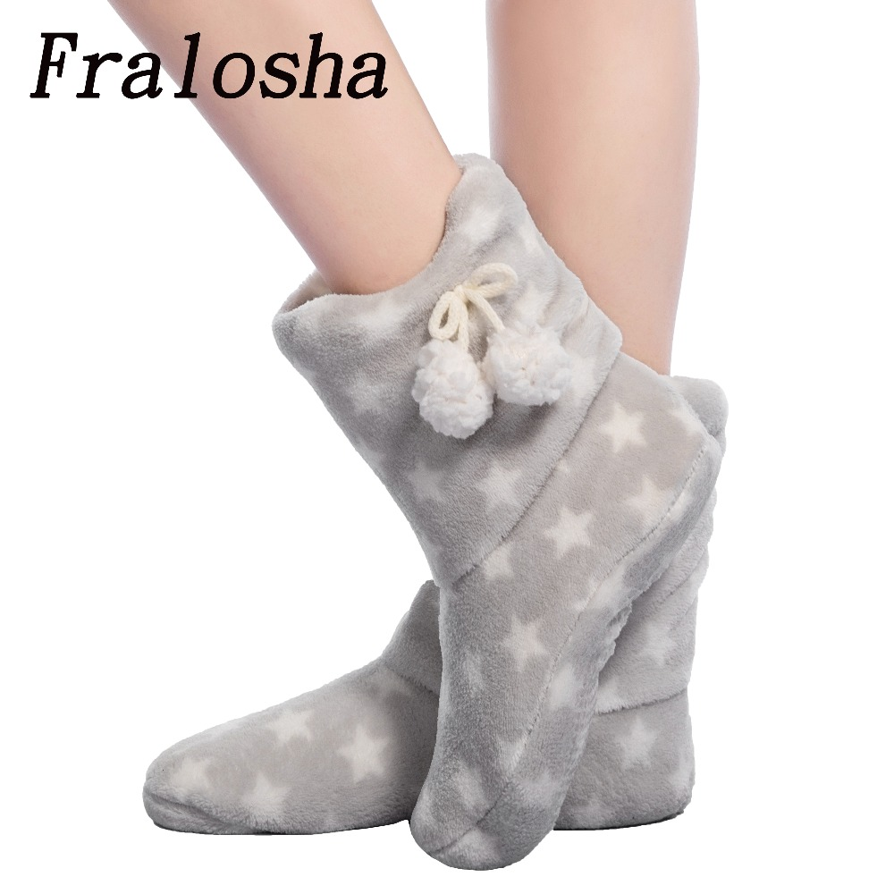 FRALOSHA White star thick plush warm indoor boots floor shoes shoes non-slip soft home shoes boots and the same bathrobe series цена