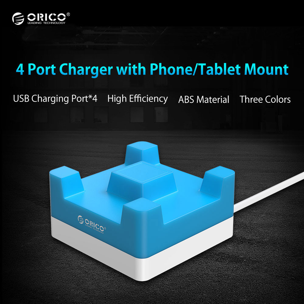 ORICO 4 Port 20W Desktop USB Charger with Phone Tablet Mount for iPhone 6s 7 Samsung Xiaomi HUAWEI LG HTC - (CHA-4U)