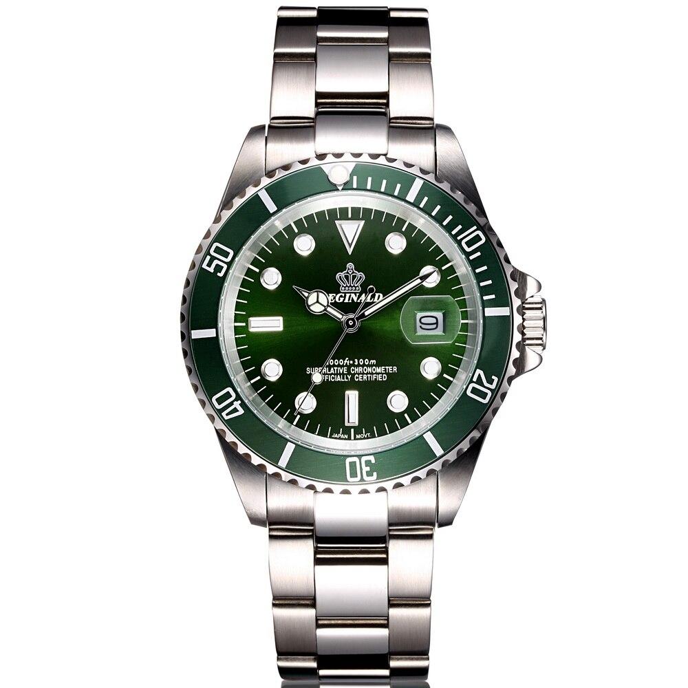 2016 Luxury Fashion Mens Watches Quartz Steel Waterproof Diver Reginald Top Brand Green Wrist Watch For