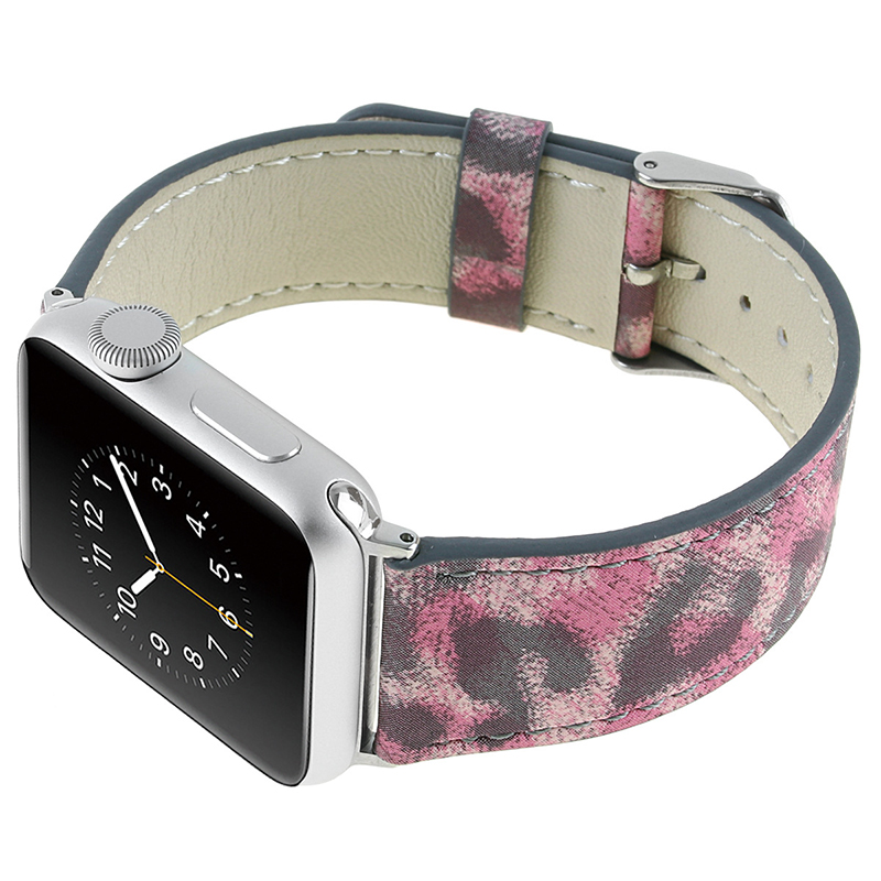Laforuta Leopard Printed Genuine Leather Strap for Apple Watch Series 4 40mm 44mm iWatch Bracelet 38mm 42mm Series 3 2 1 Band in Watchbands from Watches