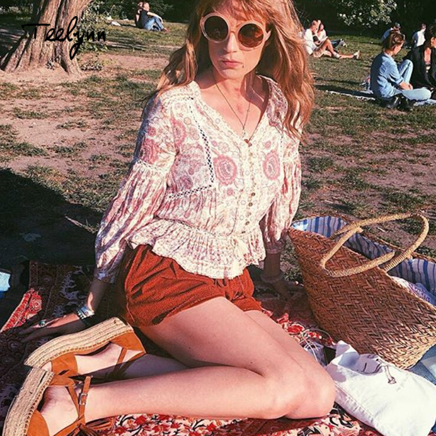 Floral Top set Blouse Teelynn Print Boho skirt Vinatge V Top Long Women Blouses Bohemia Puff Sleeve Drawstring 2018 neck Hippie Waist 1wIqUqS