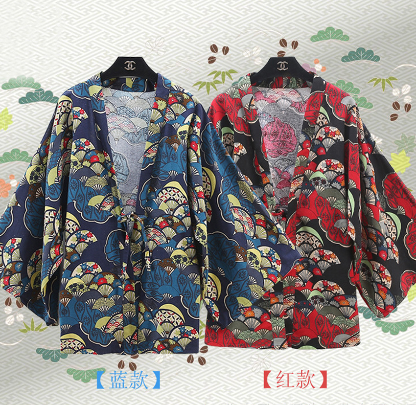 Vintage Style Printed Chiffon Cloak Cosplay Costume Japanese Kimono Daily Casual Cardigan Haori