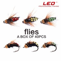 LEO 2017 New Arrival 40 PCS Set Flying Lures Hard Bait Hook Cone Heads Poper Pesca Isca Artificia Sets Of Popper Fishing