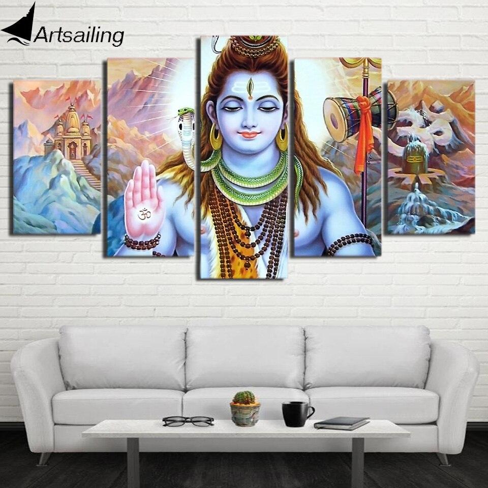 Hindu Poster Art: HD Printed 5 Piece Canvas Art Hindu God Lord Parvati Shiva