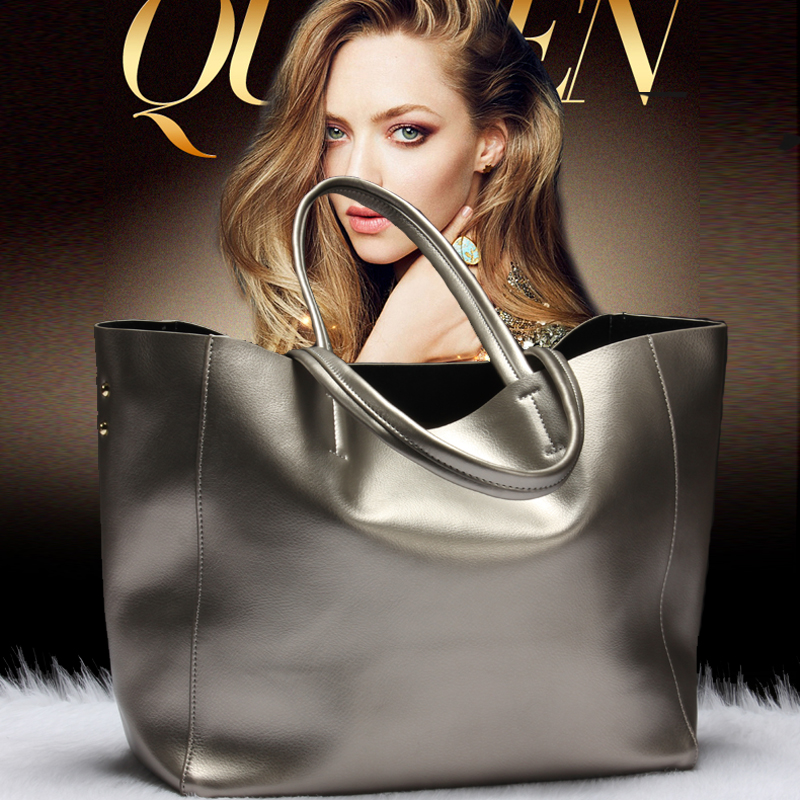 Silver Luxury Famous Brand Women Messenger Bags Handbags Women Famous Brands Gold Women Genuine Leather Handbags Sac A Main Tote european and american style fashion lady genuine leather handbags women famous brands large captain casual tote bags sac a main
