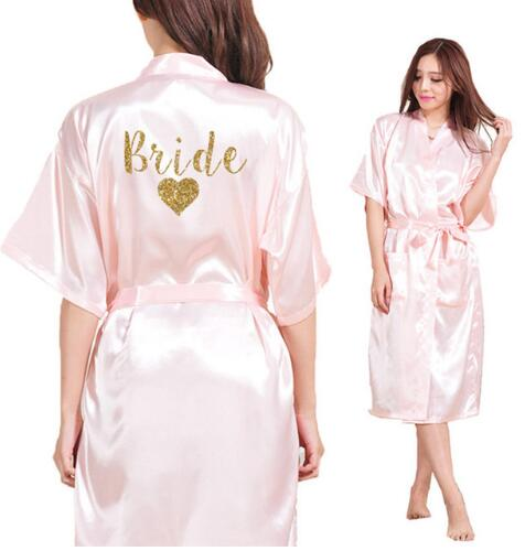Bride Heart Team Bride Heart Golden Glitter Print Kimono Robe Faux Silk Women Bachelorette Wedding Preparewea RobesFree Shipping