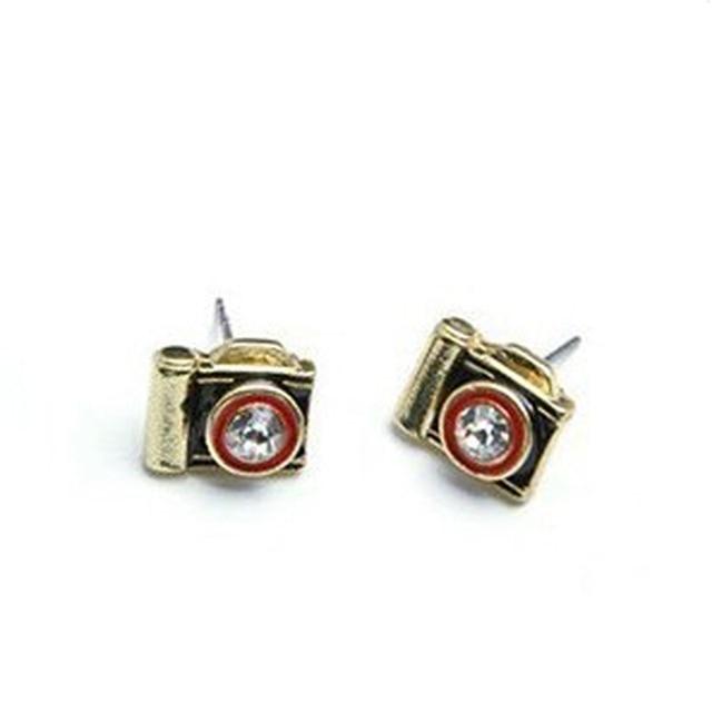 Korean Fashion Vintage Antique Gold Crystal Rhinestone Vogue Nostalgic Retro Camera Stud Earrings Cute For S E147
