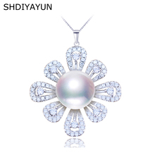 SHDIYAYUN 2019 Pearl Jewelry 925 Sterling Silver Jewelry For Women Natural Freshwater Pearl Flower Pearl Necklace Pendant Gift real new natural freshwater pearl necklace with 925 sterling silver pendant necklace for women natural pearl jewelry