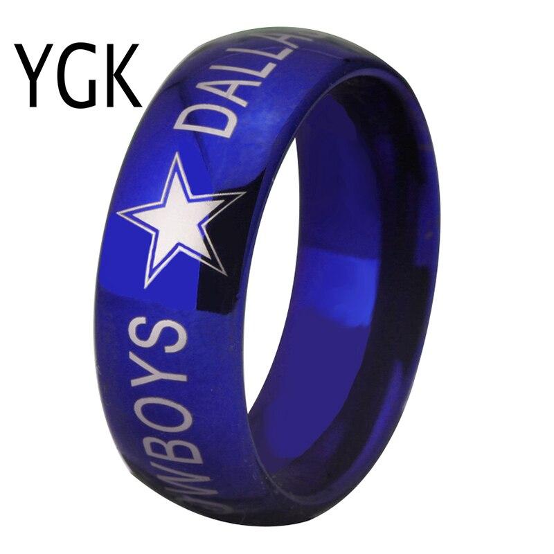 YGK MARKE SCHMUCK Heiße Verkäufe 8 MM Dallas Cowboys Design Männer Blau Gewölbte Kante Comfort Fit Ring für hochzeit