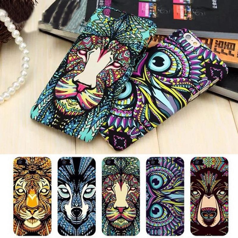 Marca animales león lobo owl patrón duro phone case para el iphone se 5S 6 6 s 7