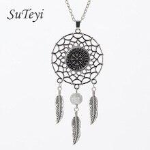 SUTEYI Pentagram Inverted Goat Head Necklace Glass Dome Pendant Baphomet Jewelry