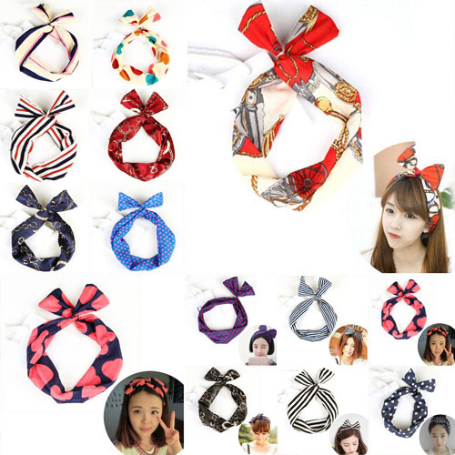 Nueva llegada coreana Lovely Dot Rabbit Bunny Ear Ribbon Metal Wire Headband Bow Hair Band Accesorios para el cabello
