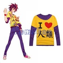 "Anime ""NO GAME NO LIFE"" Sora Cosplay Long Sleeve Casual T-shirt Men Women Cotton t shirts Tops Tee Shirt M L XL XXL"
