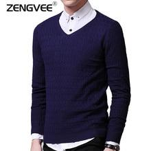 Einfarbig Pullover Männer V-ausschnitt Pullover Männer Langarm Shirt Herren Pullover Wolle Casual Kleid Marke Strickwaren Pull Homme