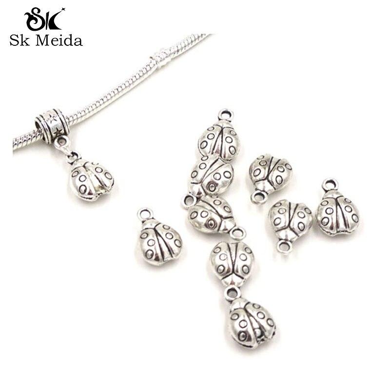 10x Calavera cristal de Estrás de aleación de zinc Adornos Colgantes De Perlas