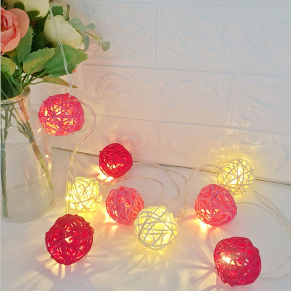 10 LED Light 2M String Rattan Ball Lamp Battery Operated Copper Wire Christmas Decor Fairy Light For Home Wedding Party