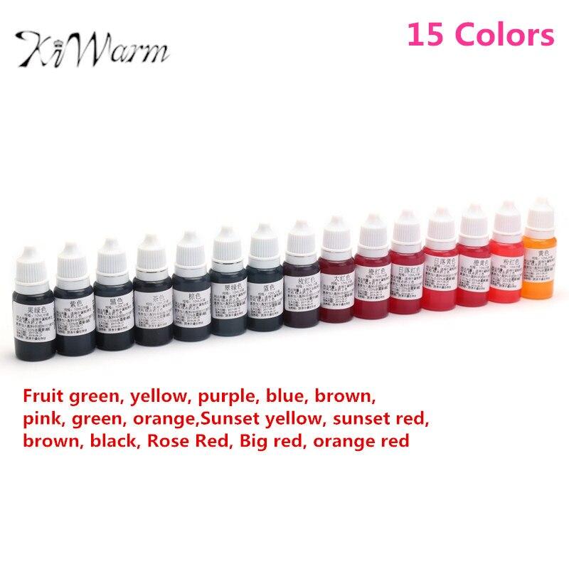 KiWarm 15 Teile/satz 10 ML 15 Farben Epoxidharz Pigment UV harz Färben Farbstoff Farbstoff Harz Pigment DIY Handarbeit Handwerk Kunst werkzeug