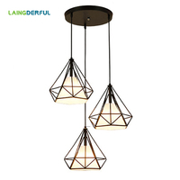 Industrial Decor Metal Pendant Lights Vintage Iron Cage Hanglamp Pyramid Loft Hanging Lamp for Bar Restaurant Bedroom Study