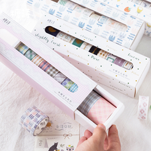 10Pcs/box Japanese Kawaii Masking Washi Tape Set Creative DIY Journal Decorative Adhesive Scrapbooking Cute Stationery