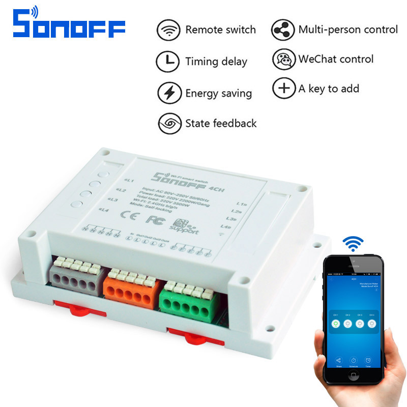 Sonoff 4CH Wifi Smart Switch Universal Remote Intelligent Switch Interruptor 4 Channel Din Rail Mounting for Smart Home