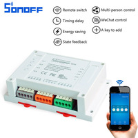 Sonoff 4CH Wifi Smart Switch Universal Remote Intelligent Switch Interruptor 4 Channel Din Rail Mounting For