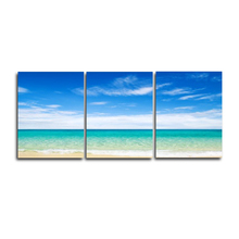 Laeacco 3 Panel Seaside Wall Art Outside Posters and Prints Vintage Canvas Painting Home Decor Picture Living Room Decoration