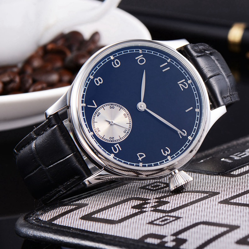 Corgeut 44mm mens hand winding watch blue sterile dial silver subdial hands 316L SS waterproof mens mechanical wristwatches