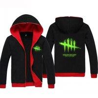 Glow In The Dark Game Dead By Daylight Men Hoodies Sweatshirts Zip Up Hoodie Black Casual