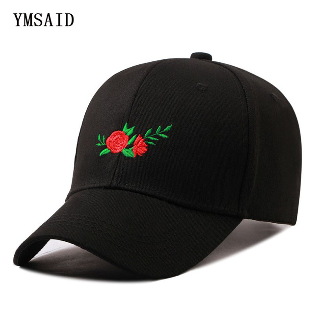 Ymsaid Embroidery Flowers Hats Gorras Planas Hip Hop Baseball Cap Men Women Curved  Snapback Caps 7355a384046