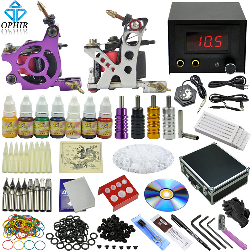 OPHIR Pro Tattoo Complete Kits for Body Art 2 Shader Liner Tattoo Machine Guns 7 Color Tattoo Ink Grips & Needles Nozzles _TA072 ophir 0 2