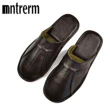 Mntrerm Lente Slip Op Mannen Slippers Zachte Comfortabele 100% Koe Lederen Handgemaakte Steken Bruin Lederen Schoenen