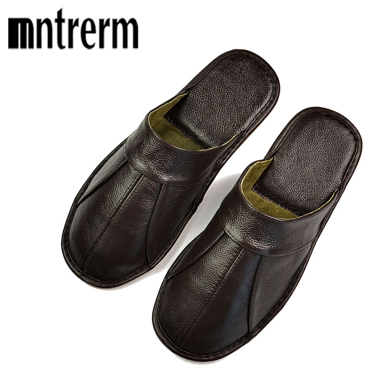 Mntrerm Spring Slip On Men Slippers Soft Comfortable 100% Cow Leather Handmade Stitches Black Brown Genuine Leather ShoesMntrerm Spring Slip On Men Slippers Soft Comfortable 100% Cow Leather Handmade Stitches Black Brown Genuine Leather Shoes