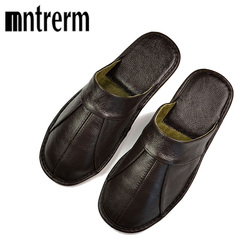 Mntrerm Spring Slip On Men Slippers Soft Comfortable 100% Cow Leather Handmade Stitches Black Brown Genuine Leather Shoes