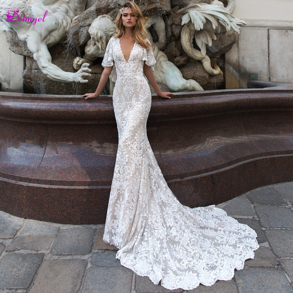 Detmgel New Arrival Sexy Scoop Neck Lace Mermaid Wedding Dress 2019 Luxury Appliques Brush Train Princess Bridal Gowns Plus Size