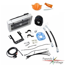Papanda Chrome Motorcycles Reefer Oil Cooler Fan Cooling System for Harley Softail 2001-2007