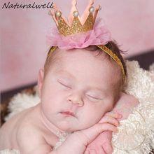 Naturalwell Newborn Crown Headband Gold princess crown Baby Girls Cute Hair Band Infant Kids Hair Accessories Photo Props HB044