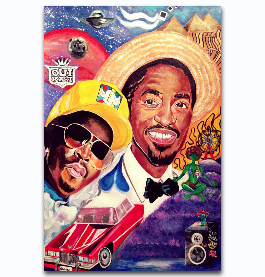 2000 OUTKAST Stankonia Hip Hop Duo Album 3-Silk Art Poster Wall Sticker Decoration Gift image