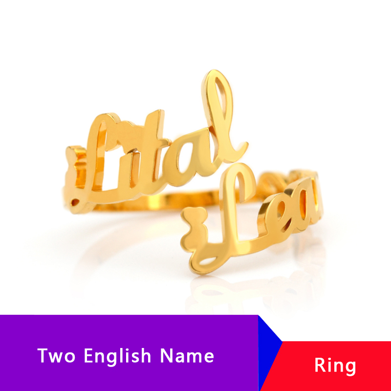 Custom Adjustable Double Name Couple Ring Stainless Steel Anillos Bijoux Personalized Rings For Woman Man Bridesmaid Gift