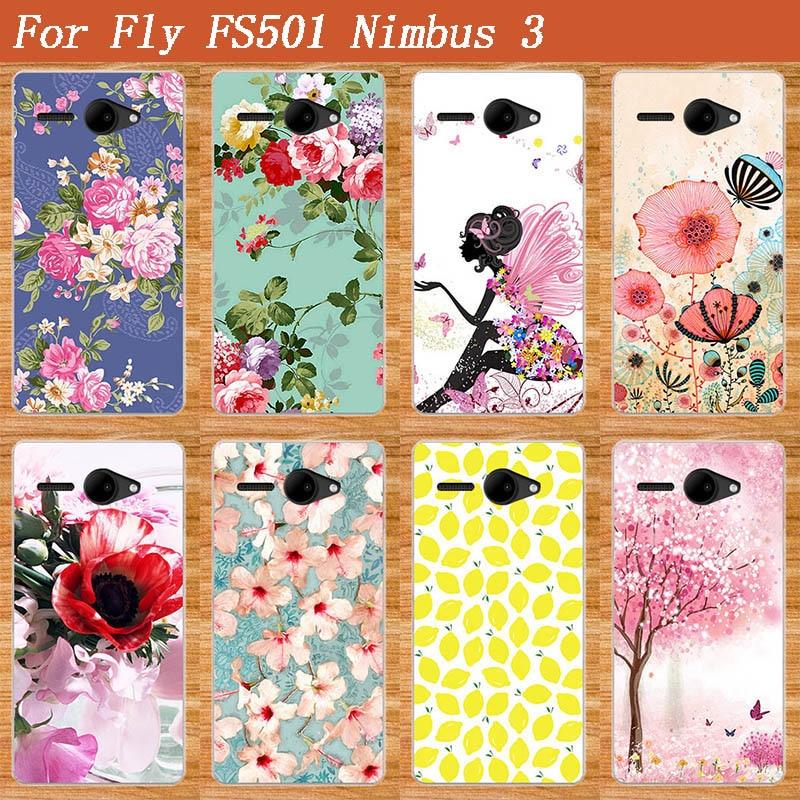 Для Fly Nimbus 3 FS501 Телефон Case Новое Прибытие живопись мода Красивый Цветок Стили DIY Case Для Fly FS501 Нимб 3