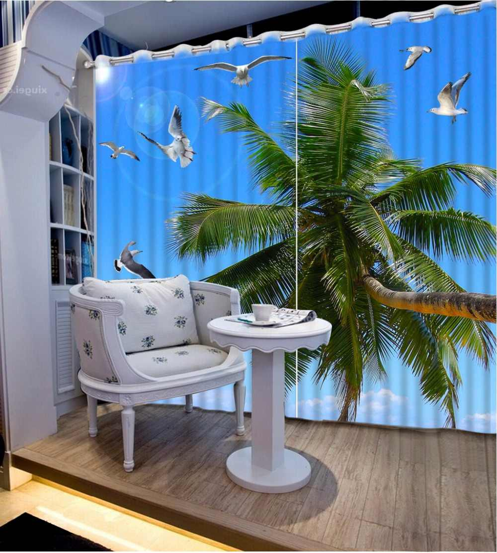 3D Curtain Decorative Curtain Blue Sky Coconut Tree 3D Bathroom Shower Curtain Blackout Fabric Curtain Design