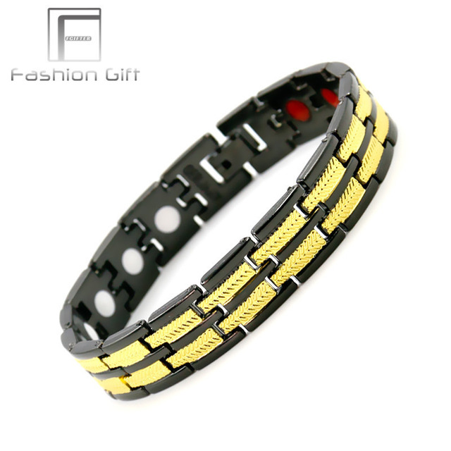 Fgifter Gold Black Bracelets For Men Stainless Steel Magnetic Bracelet Male Jewelry Beautiful Christmas Present