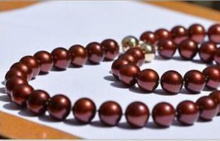 Superbe collier de perles 9-10mm vin rouge 18