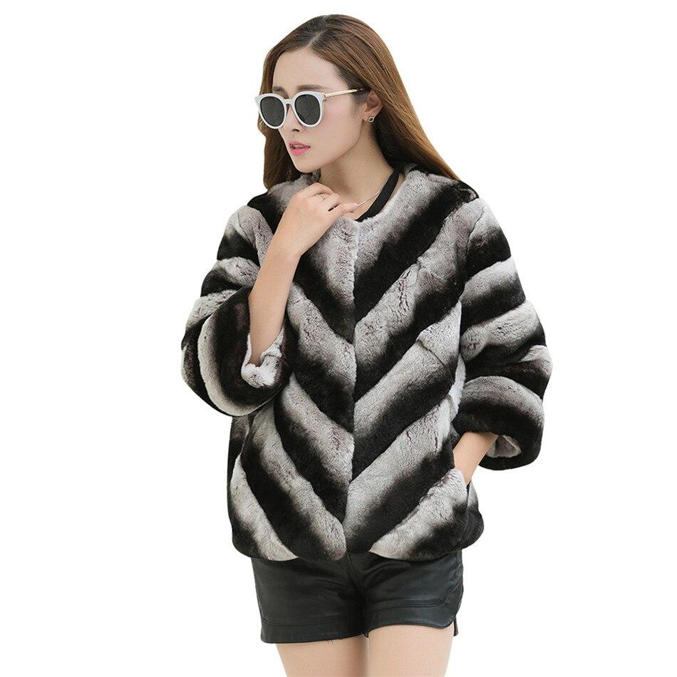 100% натуральная Меховая куртка lexus rex rabbit, Шиншилла, блейзер, короткое пальто на заказ, большой размер 6Xl 5XL, зимнее меховое пальто в серую полос