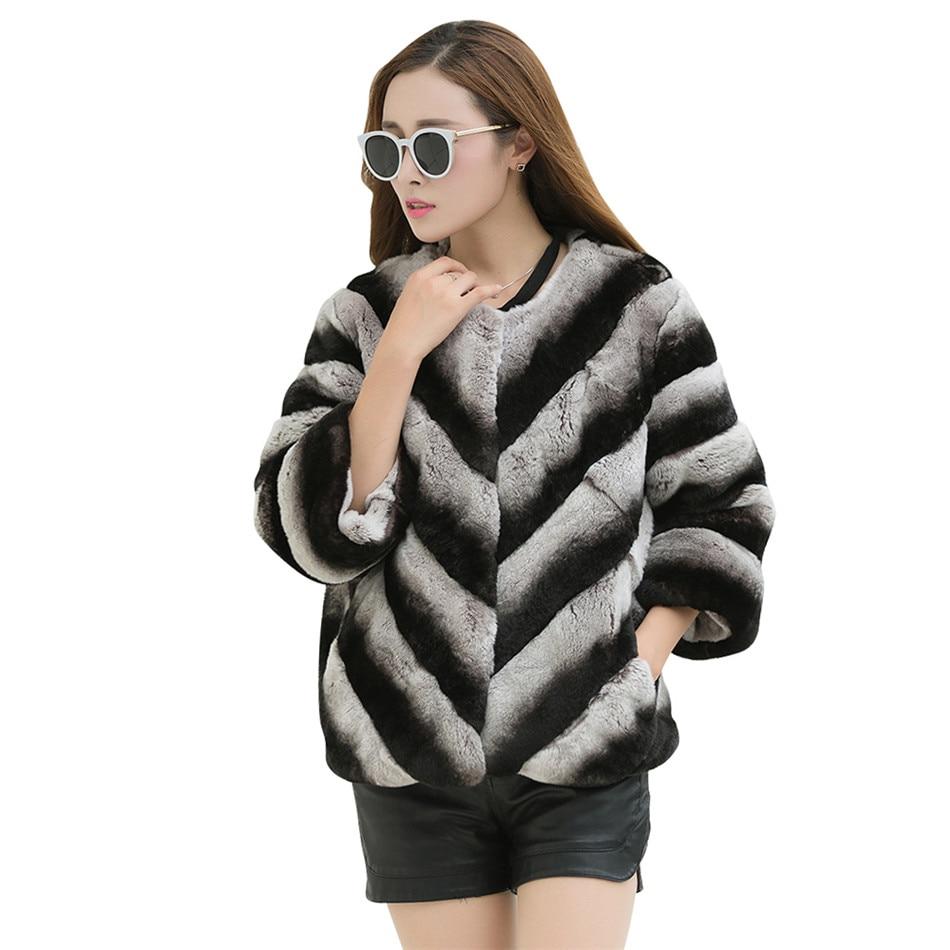 7cd4013fed5 100% real lexus rex rabbit chinchilla fur jacket blazer short coat custom plus  size 6Xl 5XL winter fur coat grey striped -in Real Fur from Women s  Clothing ...